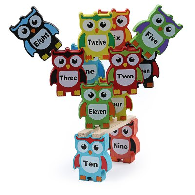 Wooden Owl Building Block High Piles Kids Educational Toy