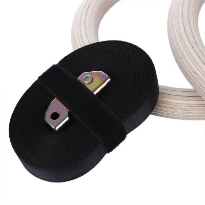 2pcs Beech Gymnastic Rings with Adjustable Buckle Strap