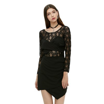 Long Sleeve Round Collar Hollow Lace Spliced Dress for Women