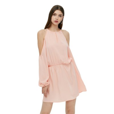 Long Sleeve Round Collar Strapless Pink Dress for Women