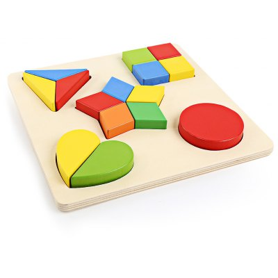 DIY 3D Wooden Matching Geometry Building Block Puzzle Toy