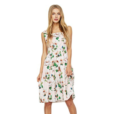 Sleeveless Square Neck Floral Print Women Dress