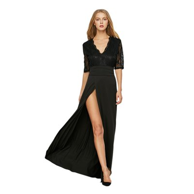 Half Lace Sleeve V Neck Tie Waist Slit Dress for Women
