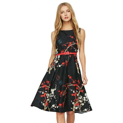 Sleeveless Round Collar Floral Print Belt Women Dress