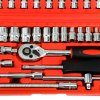 46pcs 1/4-Inch Socket Ratchet Wrench Set Auto Repair Tools Kit for sale