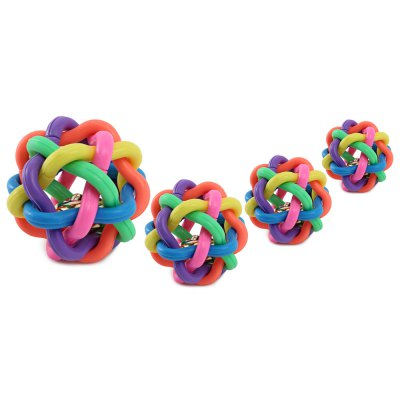 Pet Dog Cat Multi-Color Rubber Weave Ball Toy