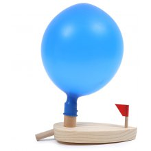 Balloon Powered Wooden Boat Child Water Educational Toy
