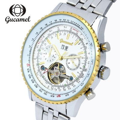 Gucamel GC034 Men Auto Mechanical WatchMens Watches<br>Gucamel GC034 Men Auto Mechanical Watch<br><br>Band Length: 9.45 inch<br>Band Material Type: Stainless Steel<br>Band Width: 20mm<br>Case material: Alloy<br>Case Shape: Round<br>Clasp type: Folding Clasp<br>Dial Diameter: 1.87 inch<br>Dial Display: Analog<br>Dial Window Material Type: Hardlex<br>Feature: Luminous, Day, Date<br>Gender: Men<br>Movement: Automatic Self-Wind<br>Package Contents: 1 x Watch<br>Package Size(L x W x H): 14.50 x 6.00 x 2.00 cm / 5.71 x 2.36 x 0.79 inches<br>Package weight: 0.2080 kg<br>Product Size(L x W x H): 24.00 x 5.00 x 1.50 cm / 9.45 x 1.97 x 0.59 inches<br>Product weight: 0.1590 kg<br>Style: Business<br>Water Resistance Depth: 30m
