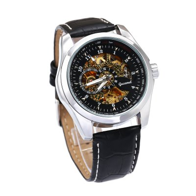 Gucamel Men Auto Mechanical WatchMens Watches<br>Gucamel Men Auto Mechanical Watch<br><br>Band Length: 8.27 inch<br>Band Material Type: Genuine Leather<br>Band Width: 20mm<br>Case material: Alloy<br>Case Shape: Round<br>Clasp type: Pin Buckle<br>Dial Diameter: 1.68 inch<br>Dial Display: Analog<br>Dial Window Material Type: Hardlex<br>Feature: Luminous<br>Gender: Men<br>Movement: Automatic Self-Wind<br>Package Contents: 1 x Watch<br>Package Size(L x W x H): 14.50 x 6.00 x 2.00 cm / 5.71 x 2.36 x 0.79 inches<br>Package weight: 0.101 kg<br>Product Size(L x W x H): 25.50 x 4.50 x 1.50 cm / 10.04 x 1.77 x 0.59 inches<br>Product weight: 0.072 kg<br>Style: Business<br>Water Resistance Depth: 30m