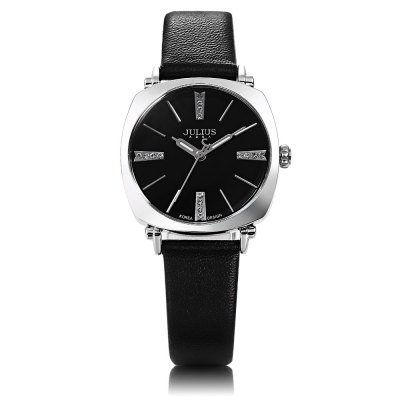 Julius JA - 388L Female Square Case Quartz WatchCouples Watches<br>Julius JA - 388L Female Square Case Quartz Watch<br><br>Brand: Julius<br>Watches categories: Female table<br>Style: Fashion&amp;Casual<br>Movement type: Quartz watch<br>Shape of the dial: Square<br>Display type: Analog<br>Case material: Alloy<br>Band material: Leather<br>Clasp type: Pin buckle<br>Water resistance : 30 meters<br>The dial thickness: 0.6 cm / 0.24 inches<br>The dial diameter: 2.9 cm / 1.14 inches<br>The band width: 1.3 cm / 0.51 inches<br>Wearable length: 15.5 - 19.8 cm / 6.10 - 7.80 inches<br>Product weight: 0.025 kg<br>Package weight: 0.080 kg<br>Product size (L x W x H): 21.70 x 2.90 x 0.60 cm / 8.54 x 1.14 x 0.24 inches<br>Package size (L x W x H): 22.70 x 3.90 x 1.60 cm / 8.94 x 1.54 x 0.63 inches<br>Package Contents: 1 x Julius JA - 388L Ladies Leather Quartz Watch