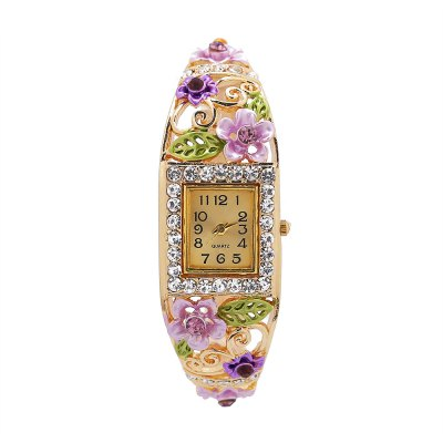 Shiny Female Quartz Rhinestone Dial Watch