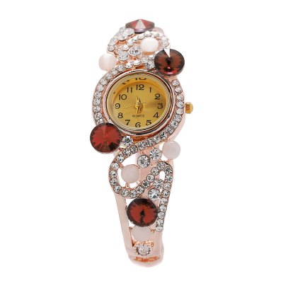 Women Shiny Quartz Artificial Diamond Dial Watch