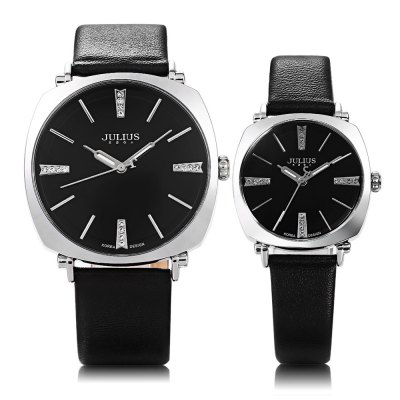 Julius JA - 388 Square Case Couple Quartz WatchCouples Watches<br>Julius JA - 388 Square Case Couple Quartz Watch<br><br>Brand: Julius<br>Watches categories: Couple tables<br>Watch style: Fashion<br>Shape of the dial: Round<br>Movement type: Quartz watch<br>Display type: Analog<br>Case material: Alloy<br>Band material: Leather<br>Clasp type: Pin buckle<br>Water resistance : 30 meters<br>Package weight: 0.120 kg<br>Package size (L x W x H): 25.00 x 7.90 x 1.70 cm / 9.84 x 3.11 x 0.67 inches<br>The male watch band dimension (L x W): 2 cm / 0.79 inches<br>The male watch weight: 0.040 kg<br>The male watch size (L x W x H): 24 x 4 x 0.7 cm / 9.43 x 1.57 x 0.28 inches<br>The female watch band dimension (L x W): 1.3 cm / 0.51 inches<br>The female watch weight: 0.025 kg<br>The female size (L x W x H): 21.7 x 2.9 x 0.6 cm / 8.53 x 1.14 x 0.24 inches<br>Package Contents: 1 x Julius JA - 388 Leather Couple Quartz Watch