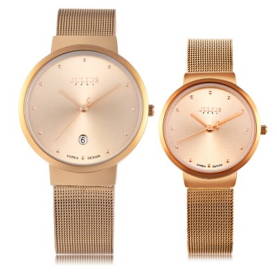 Julius JA - 426 Couple Analog Quartz WatchCouples Watches<br>Julius JA - 426 Couple Analog Quartz Watch<br><br>Brand: Julius<br>Watches categories: Couple tables<br>Watch style: Ultrathin<br>Shape of the dial: Round<br>Movement type: Quartz watch<br>Display type: Analog<br>Case material: Alloy<br>Band material: Stainless Steel<br>Clasp type: Folding clasp with safety<br>Water resistance : 30 meters<br>Special features: Date<br>Package weight: 0.149 kg<br>Package size (L x W x H): 8.00 x 8.50 x 7.00 cm / 3.15 x 3.35 x 2.76 inches<br>The male dial dimension (L x W x H): 3.8 cm / 1.50 inches<br>The male watch band dimension (L x W): 1.8 cm / 0.71 inches<br>The male watch weight: 0.052 kg<br>The male watch size (L x W x H): 23.5 x 3.8 x 0.6 cm / 9.24 x 1.49 x 0.24 inches<br>The female dial dimension (L x W x H): 3 cm / 1.18 inches<br>The female watch band dimension (L x W): 1.3 cm / 0.51 inches<br>The female watch weight: 0.037kg<br>The female size (L x W x H): 22.5 x 3 x 0.6 cm / 8.84 x 1.18 x 0.24 inches<br>Package Contents: 1 x Julius JA - 426 Couple Quartz Watch