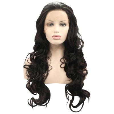 Loose Curly Synthetic Hair Lace Front Natural Black Wigs for Women