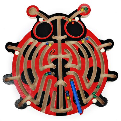 Kids wooden magnetic pen labyrinth puzzle toy