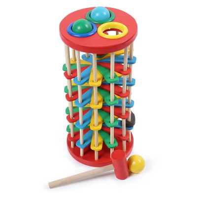 Wooden Knock Ball Ladder Game with Hammer for Baby Kids