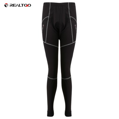REALTOO Fleece Gray Lines Thermal Cycling Pants for Men