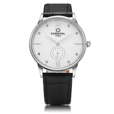 CARNIVAL 8708G Male Quartz WatchMens Watches<br>CARNIVAL 8708G Male Quartz Watch<br><br>Band Length: 8.27 inch<br>Band Material Type: Genuine Leather<br>Band Width: 18mm<br>Case material: Stainless Steel<br>Case Shape: Round<br>Clasp type: Pin Buckle<br>Dial Diameter: 1.5 inch<br>Dial Display: Analog<br>Dial Window Material Type: Sapphire<br>Feature: Chronograph<br>Gender: Men<br>Movement: Quartz<br>Package Contents: 1 x Watch<br>Package Size(L x W x H): 13.20 x 11.20 x 7.40 cm / 5.2 x 4.41 x 2.91 inches<br>Package weight: 0.261 kg<br>Product Size(L x W x H): 25.00 x 4.00 x 0.70 cm / 9.84 x 1.57 x 0.28 inches<br>Product weight: 0.041 kg<br>Style: Business<br>Water Resistance Depth: 30m