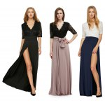 best Half Lace Sleeve V Neck Tie Waist Slit Women Dress