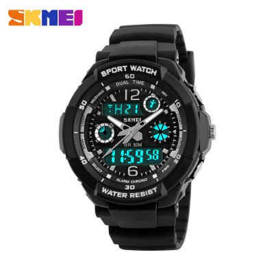 Skmei 1060 LED Sports Watch with Double Japan Movts Waterproof Design and Plastic Watch BandSports Watches<br>Skmei 1060 LED Sports Watch with Double Japan Movts Waterproof Design and Plastic Watch Band<br><br>People: Unisex table<br>Watch style: Business,LED,Outdoor Sports<br>Shape of the dial: Round<br>Movement type: Digital watch<br>Display type: Analog-Digital<br>Case material: Stainless Steel<br>Band material: PU<br>Clasp type: Pin buckle<br>Special features: Alarm Clock,Calendar,Multi Time Zones,Stopwatch,Week<br>Water resistance : 50 meters<br>The dial thickness: 1.4 cm / 0.55 inches<br>The dial diameter: 4.0 cm / 1.57 inches<br>The band width: 1.7 cm / 0.67 inches<br>Wearable length: 15 - 20 cm / 5.91 - 7.87 inches<br>Product weight: 0.041 kg<br>Package weight: 0.072 kg<br>Product size (L x W x H): 22.00 x 4.00 x 1.70 cm / 8.66 x 1.57 x 0.67 inches<br>Package size (L x W x H): 23.00 x 5.00 x 2.70 cm / 9.06 x 1.97 x 1.06 inches<br>Package Contents: 1 x Watch