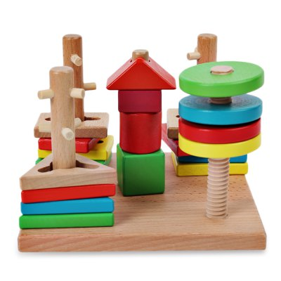 Funny creative wooden shape match building block for kids...