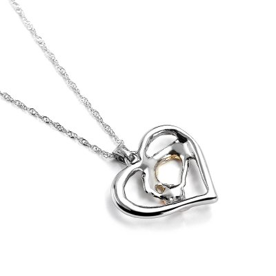 Heart Pattern Artificial Gems Holding Hands Hollow Necklace