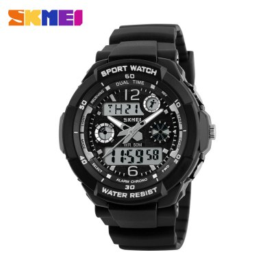 Skmei 1060 LED Sports Watch with Double Japan Movts Waterproof Design and Plastic Watch Band