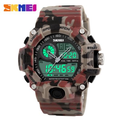 Skmei 1029 Double Movt Army LED WatchSports Watches<br>Skmei 1029 Double Movt Army LED Watch<br><br>Brand: Skmei<br>People: Unisex table<br>Watch style: LED,Military,Outdoor Sports<br>Available Color: Blue,Green,Red<br>Shape of the dial: Round<br>Movement type: Double-movtz<br>Display type: Analog-Digital<br>Case material: PC<br>Band material: Rubber<br>Clasp type: Pin buckle<br>Water resistance : 50 meters<br>The dial thickness: 1.8 cm / 0.7 inches<br>The dial diameter: 5.0 cm / 2.0 inches<br>The band width: 2.2 cm / 0.9 inches<br>Wearable length: 17 - 23.8 cm / 6.69 - 9.37 inches<br>Product weight: 0.063 kg<br>Package weight: 0.113 kg<br>Product size (L x W x H): 26.00 x 5.00 x 1.80 cm / 10.24 x 1.97 x 0.71 inches<br>Package size (L x W x H): 27.00 x 6.00 x 2.80 cm / 10.63 x 2.36 x 1.1 inches<br>Package Contents: 1 x Skmei 1029 Watch
