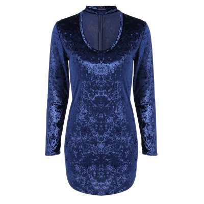 Long Sleeve Stand Collar Hollow Out Velvet Dress for Women