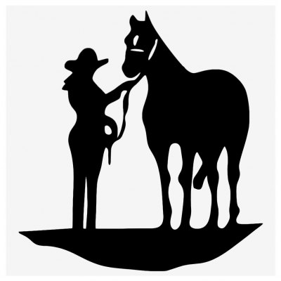 Cowgirl and Horse Sticker Car Decal