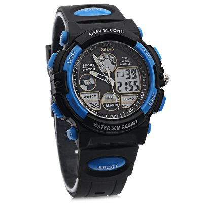 xinjia XJ - 869Z Dual Display Sports WatchMens Watches<br>xinjia XJ - 869Z Dual Display Sports Watch<br><br>Band Length: 7.48 inch<br>Band Material Type: Resin<br>Band Width: 20mm<br>Case material: Plastic<br>Case Shape: Round<br>Dial Diameter: 1.78 inch<br>Dial Display: Analog-Digital<br>Dial Window Material Type: Glass<br>Feature: Luminous, Day, Date, Alarm<br>Gender: Men<br>Movement: Digital,Quartz<br>Package Contents: 1 x xinjia XJ - 869Z Dual Display Sports Watch<br>Package Size(L x W x H): 28.50 x 8.00 x 3.00 cm / 11.22 x 3.15 x 1.18 inches<br>Package weight: 0.076 kg<br>Product Size(L x W x H): 25.00 x 5.00 x 2.00 cm / 9.84 x 1.97 x 0.79 inches<br>Product weight: 0.049 kg<br>Style: Sport, Fashion &amp; Casual<br>Water Resistance Depth: 50m