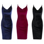 Spaghetti Strap Velvet Women Dress for sale