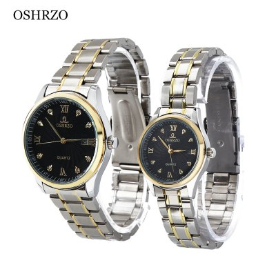 OSHRZO os8017g2 Fashion Couple Quartz Watch Rhinestone Date DisplayCouples Watches<br>OSHRZO os8017g2 Fashion Couple Quartz Watch Rhinestone Date Display<br><br>Band Length: men: 11.42 inch, women: 11.41 inch<br>Band Material Type: Stainless Steel<br>Band Width: men: 20mm, women: 10mm<br>Case material: Alloy<br>Case Shape: Round<br>Clasp type: Folding Clasp<br>Dial Diameter: men: 1.57 inch, women: 1.18 inch<br>Dial Display: Analog<br>Dial Window Material Type: Glass<br>Feature: Date<br>Gender: lovers,Men,Women<br>Movement: Quartz<br>Package Contents: 1 x Couple Watch<br>Package Size(L x W x H): 10.00 x 10.00 x 6.30 cm / 3.94 x 3.94 x 2.48 inches<br>Package weight: 0.2880 kg<br>Product Size(L x W x H): 29.00 x 7.00 x 5.00 cm / 11.42 x 2.76 x 1.97 inches<br>Product weight: 0.1480 kg<br>Style: Fashion &amp; Casual