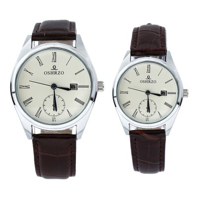 OSHRZO os8012p1 Couple Quartz Watch Decorative Sub-dialCouples Watches<br>OSHRZO os8012p1 Couple Quartz Watch Decorative Sub-dial<br><br>Band Length: men: 10.04 inch, women: 8.27 inch<br>Band Material Type: Leather<br>Band Width: men: 18mm, women: 10mm<br>Case material: Alloy<br>Case Shape: Round<br>Clasp type: Pin Buckle<br>Dial Diameter: men: 1.57 inch, women: 1.18 inch<br>Dial Display: Analog<br>Dial Window Material Type: Glass<br>Gender: lovers,Men,Women<br>Movement: Quartz<br>Package Contents: 1 x Couple Watch<br>Package Size(L x W x H): 10.00 x 10.00 x 6.30 cm / 3.94 x 3.94 x 2.48 inches<br>Package weight: 0.213 kg<br>Product Size(L x W x H): 25.50 x 7.00 x 0.80 cm / 10.04 x 2.76 x 0.31 inches<br>Product weight: 0.073 kg<br>Style: Fashion &amp; Casual
