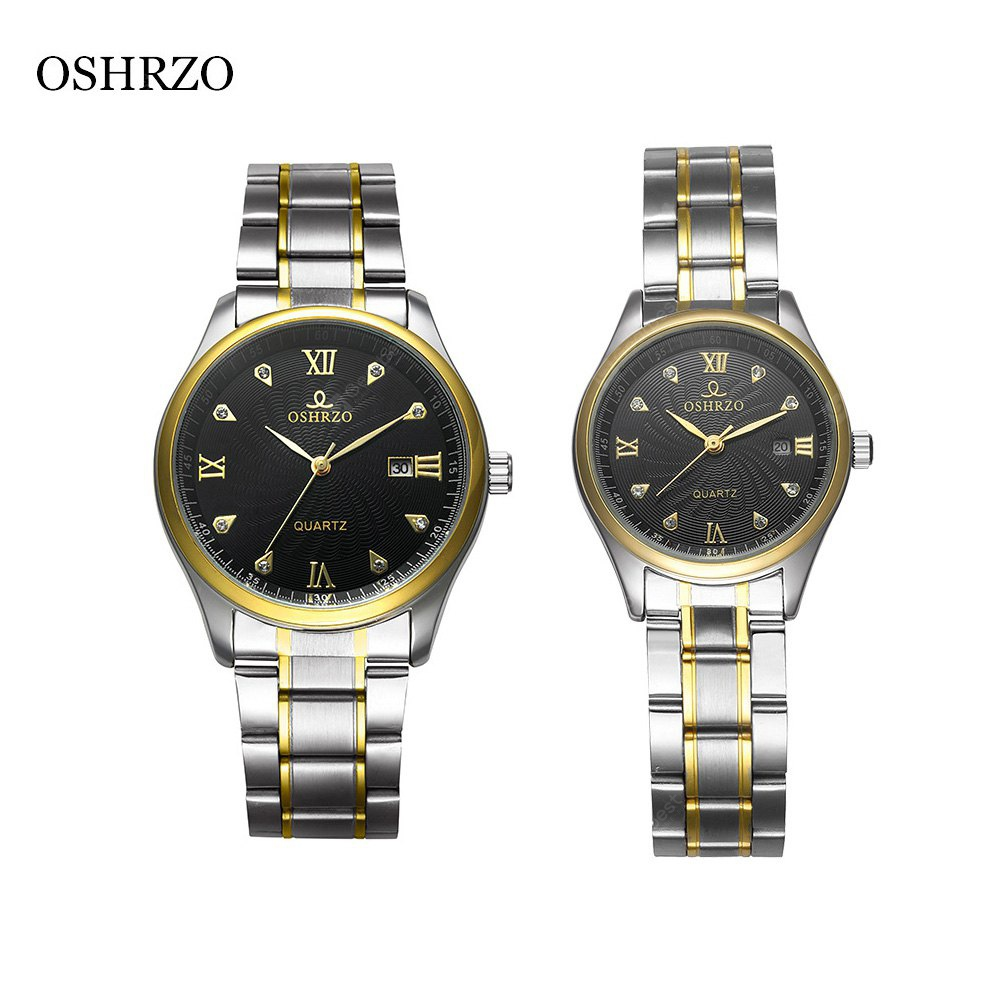 OSHRZO os8017g2 Fashion Couple Quartz Watch Rhinestone Date Display