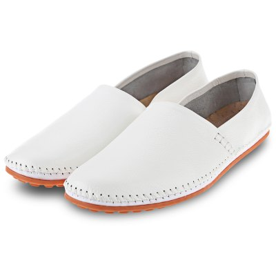 Male Solid Color Handwork Slip On Casual Leather Shoes