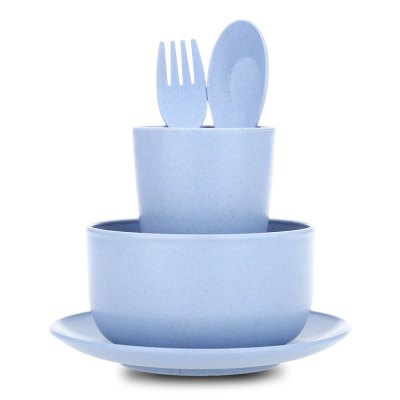 5pcs Wheat Straw Bowl Cup Plate Spoon Fork Dinnerware