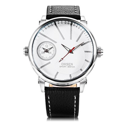 OHSEN TX2903 Male Dual Quartz WatchMens Watches<br>OHSEN TX2903 Male Dual Quartz Watch<br><br>Band Length: 8.34 inch<br>Band Material Type: Leather<br>Band Width: 22mm<br>Case material: Alloy<br>Case Shape: Round<br>Clasp type: Pin Buckle<br>Dial Diameter: 1.88 inch<br>Dial Display: Analog<br>Dial Window Material Type: Hardlex<br>Gender: Men<br>Movement: Quartz<br>Package Contents: 1 x Watch<br>Package Size(L x W x H): 7.50 x 7.50 x 8.00 cm / 2.95 x 2.95 x 3.15 inches<br>Package weight: 0.158 kg<br>Product Size(L x W x H): 26.50 x 5.30 x 1.20 cm / 10.43 x 2.09 x 0.47 inches<br>Product weight: 0.075 kg<br>Style: Business<br>Water Resistance Depth: 30m