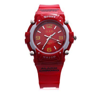 OSD 702 Children Quartz WatchKids Watches<br>OSD 702 Children Quartz Watch<br><br>Band Length: 7.87 inch<br>Band Material Type: Silicone<br>Band Width: 15mm<br>Case material: Plastic<br>Case Shape: Round<br>Clasp type: Pin Buckle<br>Dial Diameter: 1.57 inch<br>Dial Display: Analog<br>Dial Window Material Type: Glass<br>Feature: Luminous<br>Gender: Children<br>Movement: Quartz<br>Package Contents: 1 x Watch<br>Package Size(L x W x H): 24.50 x 7.00 x 2.00 cm / 9.65 x 2.76 x 0.79 inches<br>Package weight: 0.045 kg<br>Product Size(L x W x H): 25.00 x 4.00 x 1.00 cm / 9.84 x 1.57 x 0.39 inches<br>Product weight: 0.023 kg<br>Style: Sport<br>Water Resistance Depth: 30m