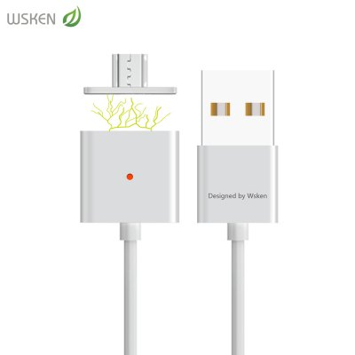 WSKEN Magnetic Suction Micro USB Adapter Data Transmission Charging Cord with Intelligent Light 1M