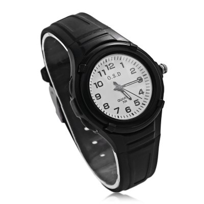 OSD 730 Kids Quartz WatchKids Watches<br>OSD 730 Kids Quartz Watch<br><br>Band Length: 7.48 inch<br>Band Material Type: Silicone<br>Band Width: 15mm<br>Case material: Plastic<br>Case Shape: Round<br>Clasp type: Pin Buckle<br>Dial Diameter: 1.38 inch<br>Dial Display: Analog<br>Dial Window Material Type: Glass<br>Gender: Children<br>Movement: Quartz<br>Package Contents: 1 x Watch<br>Package Size(L x W x H): 25.00 x 7.00 x 2.00 cm / 9.84 x 2.76 x 0.79 inches<br>Package weight: 0.045 kg<br>Product Size(L x W x H): 23.00 x 4.00 x 1.20 cm / 9.06 x 1.57 x 0.47 inches<br>Product weight: 0.023 kg<br>Style: Sport<br>Water Resistance Depth: 30m