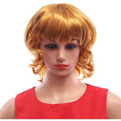 Funny Curly Golden Cosplay Wigs Costume Showcase Models