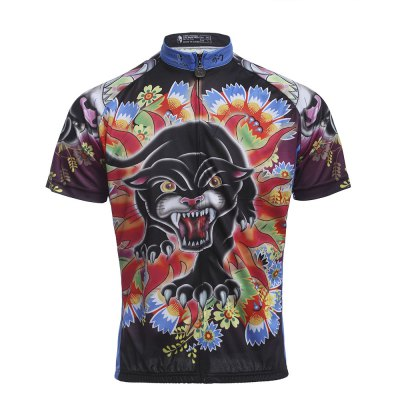 Women Breathable Cycling Leopard Pattern Clothes Jersey