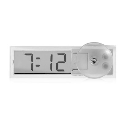 Car Suction Cup Transparent Mount LCD Digital Clock