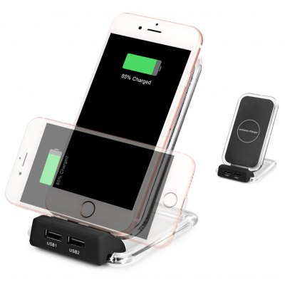 3 Coils Ultra Thin Qi Wireless Charger Holder Dual USB Port