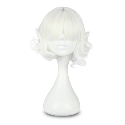 Short White Curly Wigs Party Cosplay