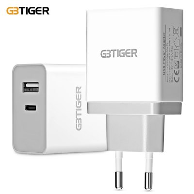 GBTIGER Type-C + USB 2.0 5V 3A Quick Travel Adapter
