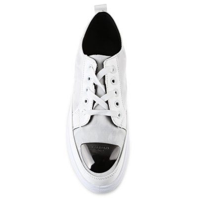 Metal Slice Patchwork Design Male SneakersCasual Shoes<br>Metal Slice Patchwork Design Male Sneakers<br><br>Available Size: 40, 41, 42, 43, 44<br>Closure Type: Lace-Up<br>Embellishment: None<br>Gender: For Men<br>Occasion: Casual<br>Outsole Material: Rubber<br>Package Contents: 1 x Pair of Shoes<br>Pattern Type: Patchwork<br>Season: Summer, Spring/Fall<br>Shoe Width: Medium(B/M)<br>Toe Shape: Round Toe<br>Toe Style: Closed Toe<br>Upper Material: Canvas<br>Weight: 0.7050kg