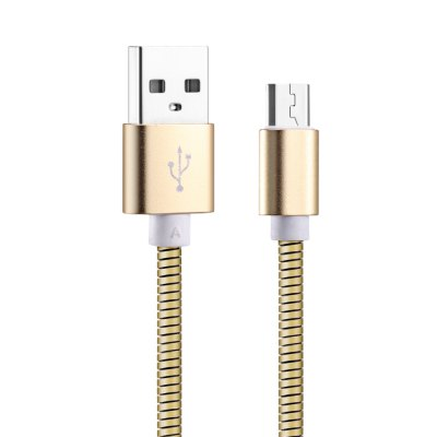 Micro USB Metal Spring Data Transfer 2A Charging Cable 1M